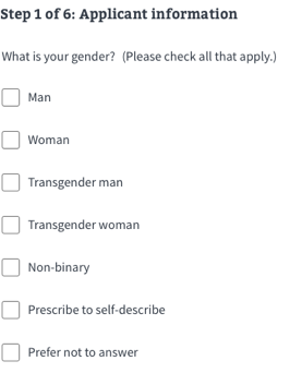 applicant information gender template