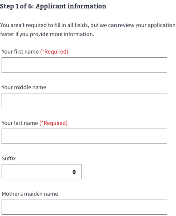 applicant information name template