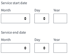 date ranges: service start date and service end date